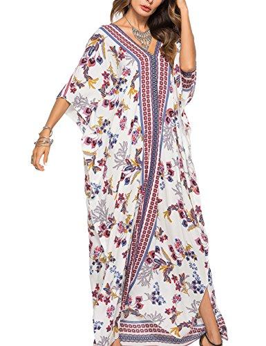 Floral Print Kaftan - Bsubseach Women Batwing Sleeve Floral Print Beach Plus Size Kaftan Maxi Dress Summer Bathing Suit Cover up Dress Caftan Robe