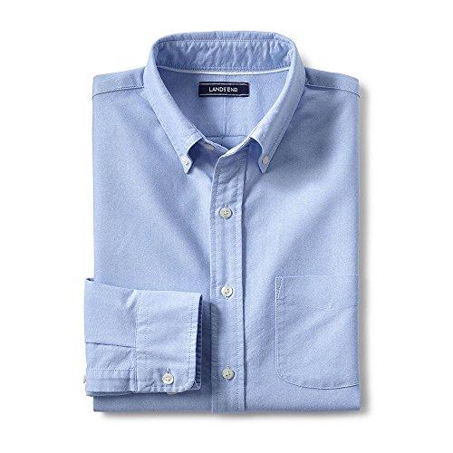 Lands' End Men's Big & Tall Tailored Fit Buttondown Solid Sail Rigger Oxford Shirt, L, Brisk Blue - Lands End Mens Dress Shirt