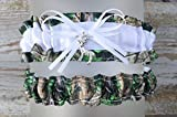 Sexy Camouflage White Satin Wedding Camo Bridal Garter SET - Deer Charm