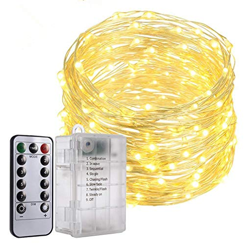 Price comparison product image PChero [Battery Enhanced Version] 33 feet 8 Modes 100LED Battery Operated Warm White Fairy String Lights with a 6AA Batteries Supported Case and Remote Timer for Birthday Wedding Party Festival Decor