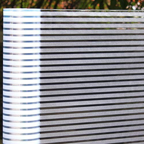 プライバシー ガラス フィルム,窓ガラス フィルム,ウィンドウ フィルム,光伝送 静的 ストライプ マット 接着剤 バルコニー 会議室-A 50x200cm(20x79inch)
