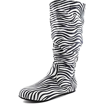 Women's Mid Calf Slouch Faux Suede Comfortable Slip On Round Toe Flat Heel Knee High Boots Fashion Shoes, Zebra Seude, 5