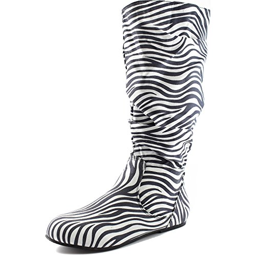 Women's Mid Calf Slouch Faux Suede Comfortable Slip On Round Toe Flat Heel Knee High Boots Fashion Shoes, Zebra Seude, 9 (Zebra Print Boots)