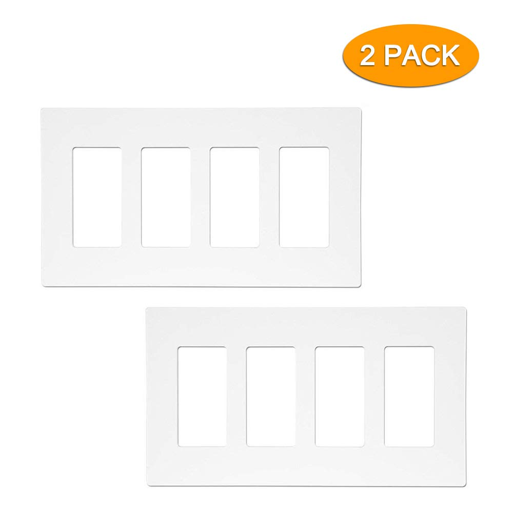 SZICT Decorative Screwless Wall Plate Standard Size, 2 Pack Child Safe Outlet Cover 4 Gang Plastic Wall Plate Ideal for GFCI Light Timer Dimmer Switches, White. (2)