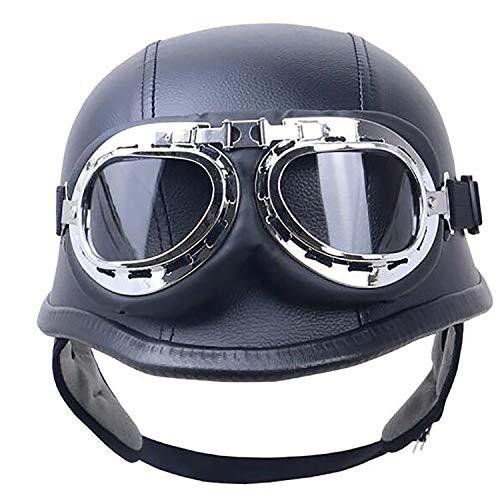 Street Leather Legal (Yedina Motorcycle Open Face Half Helmet PU Leather and Aviator Goggles Retro Jet Helmet Cruiser Defense Army Helmet DOT Certified Motorcycle Half Helmet (Black Leather),M)