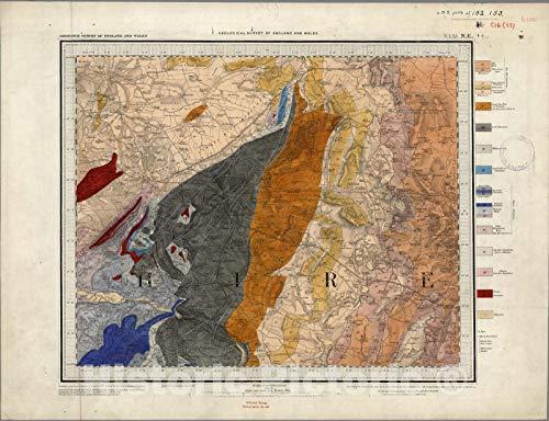 - Historic Map | Geologic Atlas Map, 61. Wellington, Shrewsbury, NE Quad. 1855 | Vintage Wall Art | 24in x 18in