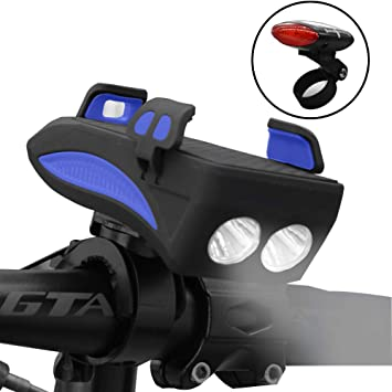 Waterproof Bike Solar LED Front Light USB Rechargeable Headlight Give Tail light