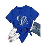 Gemijack Womens T-Shirt Casual Cotton Mom Life Print Graphic Tees Short Sleeve Tops