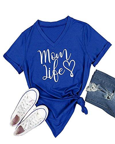 Gemijack Womens T-Shirt Casual Cotton Mom Life Print Graphic Tees Short Sleeve Tops Royal Blue, Large