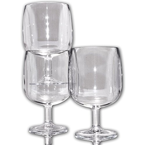 Table in a Bag C030504 Clear Plastic Wine Glasses, 8-Ounce, Set of 4