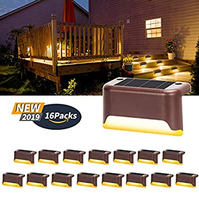 Otdair Solar Deck Lights, 16 Pcs Solar Powered Step Dock Lights Outdoor Waterproof Lighting for Railings, Patio, Stair, Yard, Path and Driveway (Warm White)