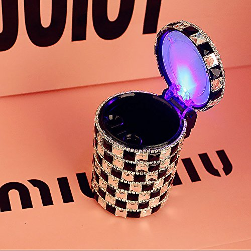 Diamond Car Ashtray Odor Smoke Remover Cylinder Auto Cigarette Cup Holder Smokeless With LED Lamp(Mosaic) (Chargers Fender Purse)