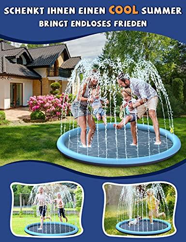 BOIROS Splash Pad wasserspielzeug, 170CM Sprinkler Wasserspielmatte, Splash Play Matte für Baby Party Sprinkler, Outdoor Garten Spielzeug ab 3 Jahre, für Baby, Haustiere, Kinder