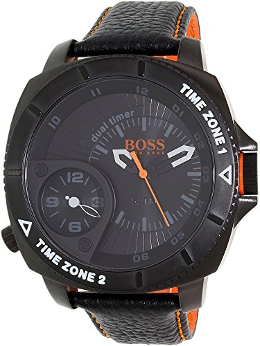 Hugo Boss Men's Orange 1513221 Black Leather Quartz Watch