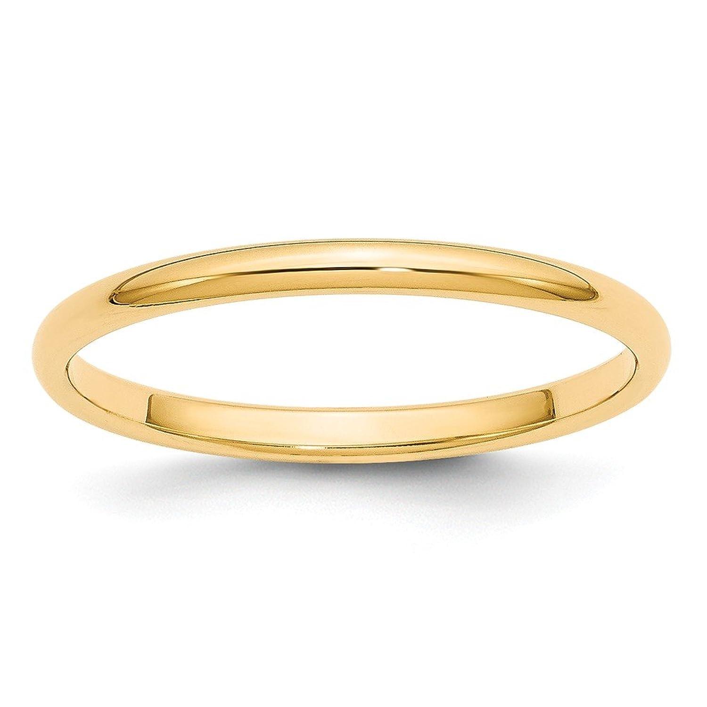 14k 2mm Half-Round Wedding Mens Womens Wedding Anniversary Band Finger Size 6