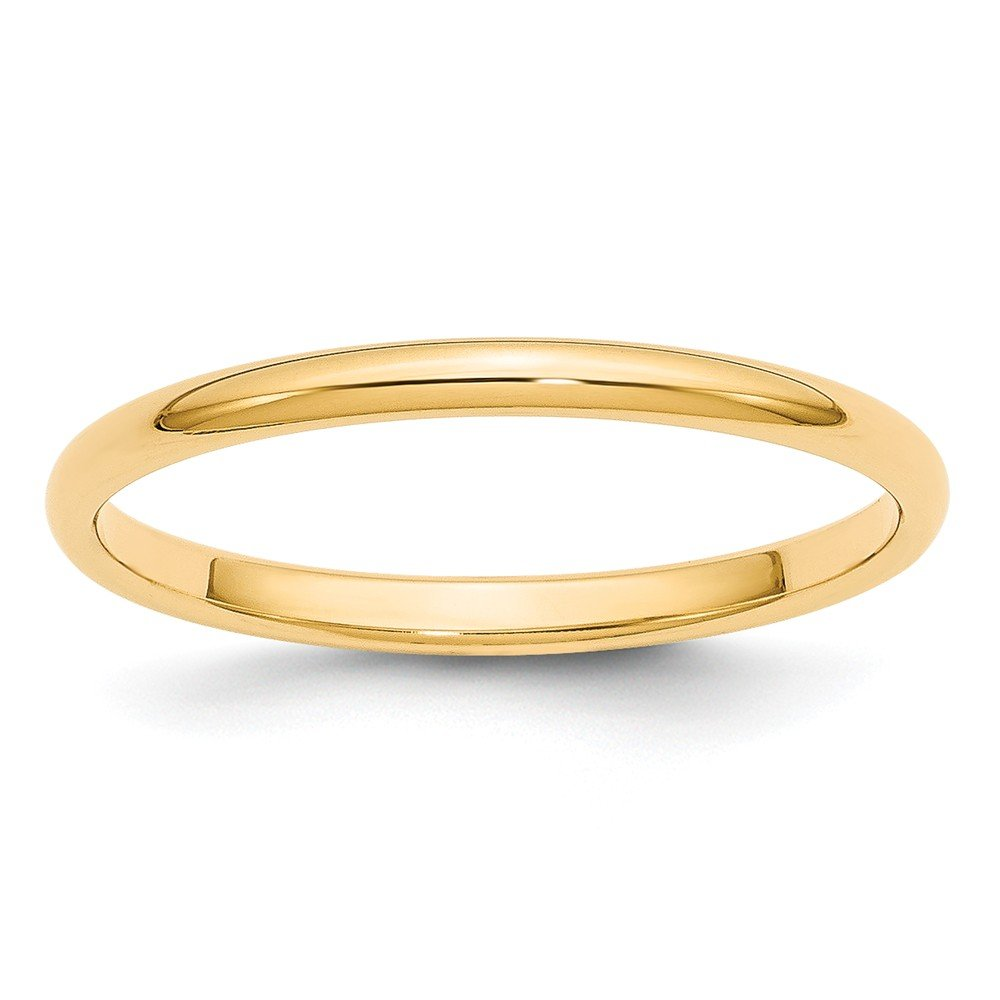 Jewelry Stores Network Solid 14k Yellow Gold 2 mm Classic Rounded Wedding Band Ring