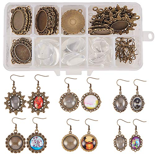 SUNNYCLUE 1 Box DIY 12 Pairs 6 Style Dangle Cabochon Earrings Making Starter Kits Include Earring Wire Hooks, Cabochon Settings, Round Oval Glass Dome Tiles, Antique Bronze