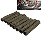 ZHUBANG Spark Plug Boot Protector Wire Titanium Spark Plug Boot Protector 6inch/15.2cm Heat Shield Sleeve Wire Protection 8PCS