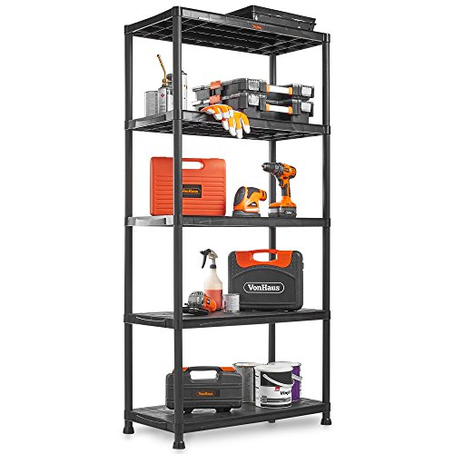 VonHaus 5 Tier Plastic Unit Extra Wide | Shelving for Garage and Shed | Freestanding Storage System - 125Kg Capacity - 25Kg Per Shelf - Ideal Office, Garden, Studio, Workshop - 174 x 80 x 40cm