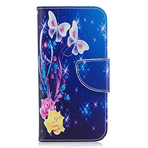 Galaxy A6 Plus Case, Bear Village Painted Pattern Premium PU Leather Magnetic Wallet Case Cover with Kickstand and Card Holder ID Slot for Samsung Galaxy A6 Plus (#3 Butterfly)