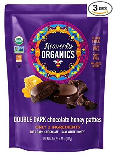 - Heavenly Organics Double Dark Chocolate Honey Patties - 100% Organic Cocoa - 100% Organic Raw White Honey; Non-GMO, Fair Trade, Kosher, Dairy & Gluten Free, No Sugar Added 12 per Bag (3 Pack)