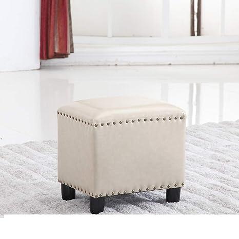 Amazon Com Leather Stool With Wood Leg Square Ottoman Footstool