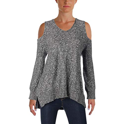 Vince Camuto Womens Cold Shoulder V Neck Pullover Sweater Gray S