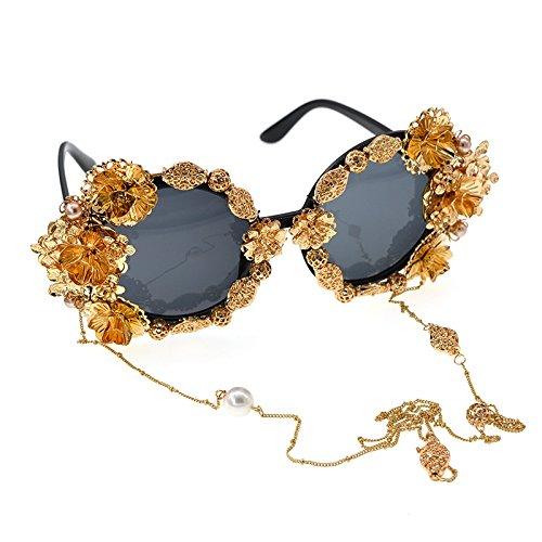 vendimia de para flor metal de Gafas las sol la polarizada Alta sol perla clase oro la mujer de de mujeres gafas gafas de para ga borla cadena de lujo de barrocas mariposa mano a retro hecha de estilo UUvwEq1