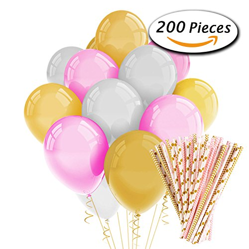 Price comparison product image Paxcoo 200 Pcs Pink and Gold Party Balloons and Paper Straws for Birthday Party Decorations