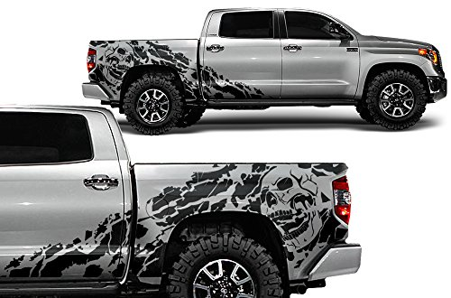 (Factory Crafts Nightmare Side Graphics Kit 3M Vinyl Decal Wrap Compatible with Toyota Tundra Crew Cab 2014-2017 - Matte Black)