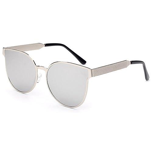Mujer Niñas Moda Al Aire Libre Anti-Reflejantes AC Lente Metal Marco UV400 Aviador Gafas De Sol Gafas, Blanco