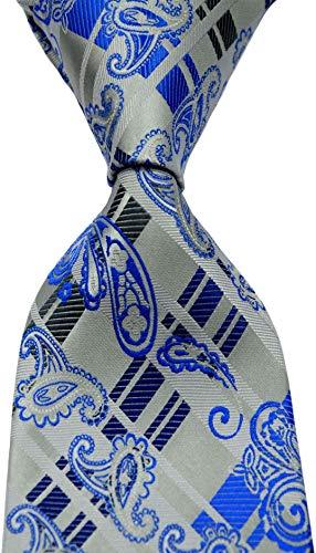 Scott Alone : New Classic Striped Paisley Jacquard Woven Silk Mens Tie Necktie (Grey/Blue)