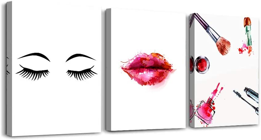 Canvas Wall Art for Girls room bathroom Wall Decor for bedroom kitchen Artwork for home decor walls Canvas pictures 3 Pieces Modern framed office wall decorations for living room lips makeup painting