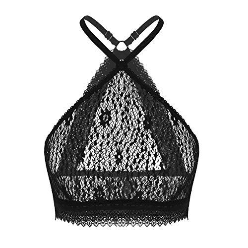 - ranrann Women's Floral Lace Halter Neck Underwired See Through Bralette Lingerie Crop Rave Bra Top Black Large