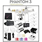 DJI Phantom 3 Professional Quadcopter with 4K Camera and 3-Axis Gimbal + Intelligent Flight Battery + DJI Prop Guard + DJI 9450 Self-Tightening Propeller Set + Sony 64GB Card + Cloth + Remote Bundle