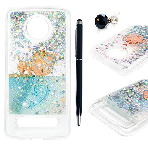 for Moto Z2 Force Case, Liquid Glitter Case Bling Shiny Sparkle Flowing Moving Love Hearts Cover Clear Ultral Slim Soft TPU Bumper Shell Shockproof Drop Resistant Case for Moto Z2 Force - Cat Fish