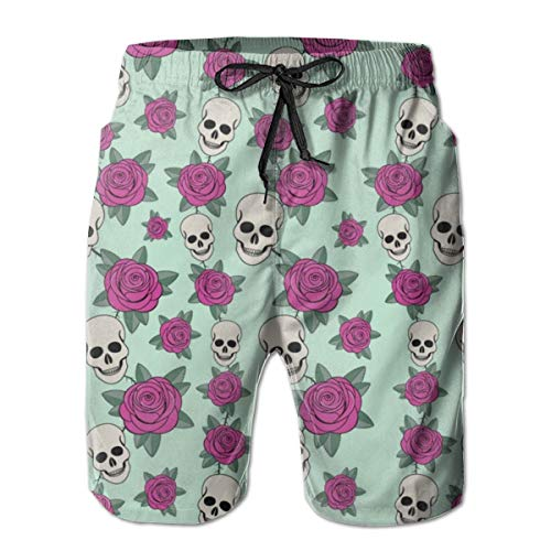 FANTASY SPACE Boys Comfort Cargo Short for Beach Athletic Sport Fast Dry Drawstring Essentials Half Pants with Pockets, Swimwear Sugar Skull Roses Hipster Cargo Short -