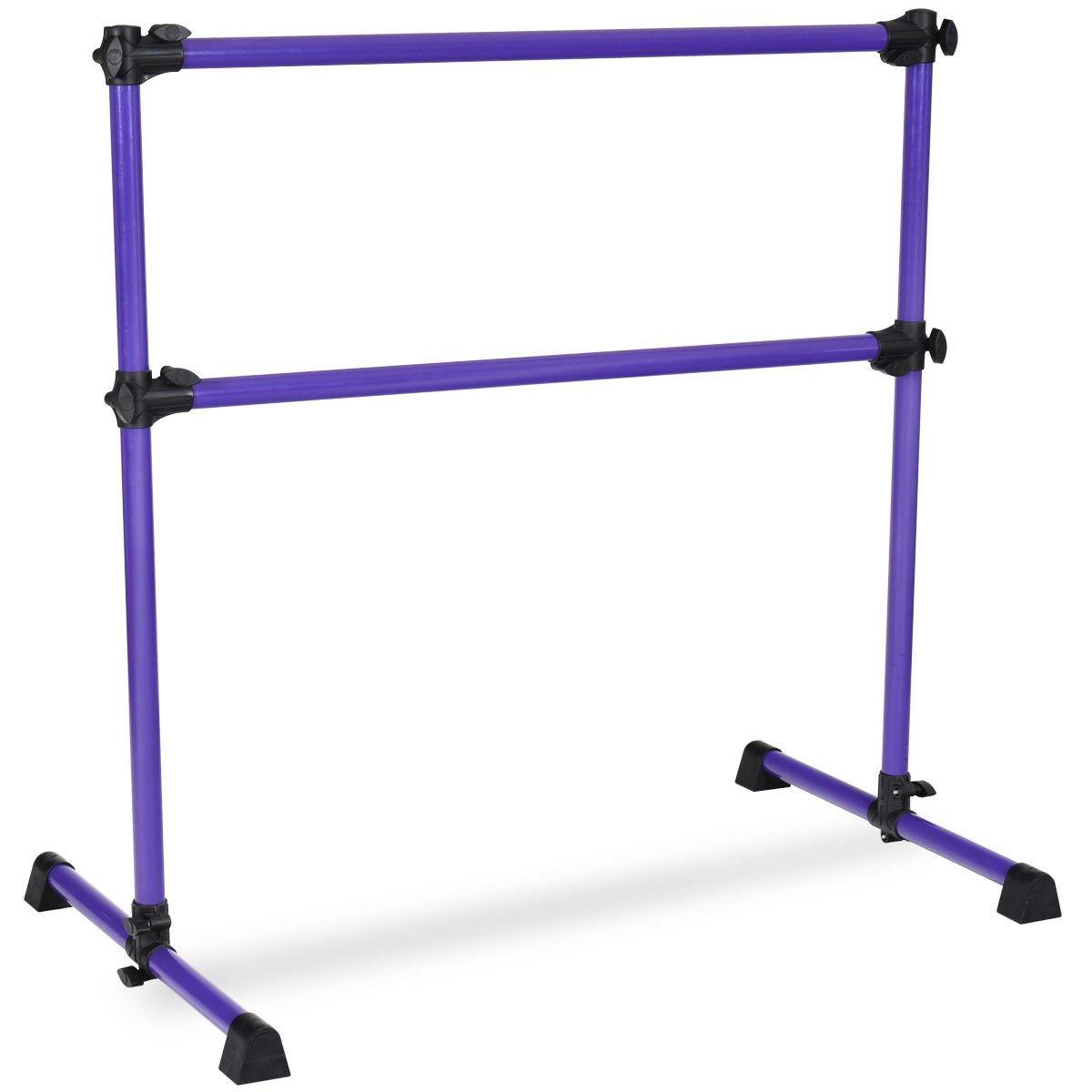 fdinspirationパープル4 ft調節可能なバレエBarreポータブルダブル自立ダンスバー