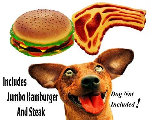 Jumbo Cheeseburger and Steak Toys (Burger Dog Toy)