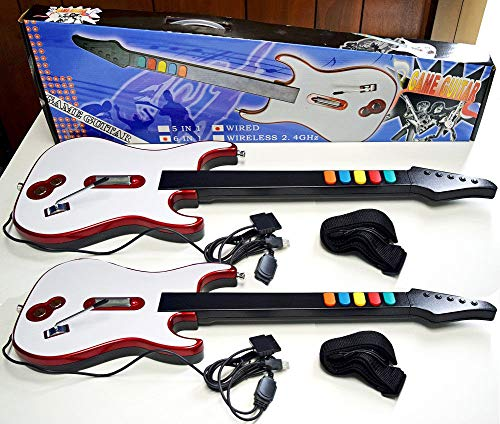2 x WIRED Guitar Hero & Rock Band 3 2 1 4 Gaming Controller for Sony Playstation 2, 3, and 4 or PC - PS3 PS2 PS4 Double Controller - 4 Playstation Guitar Hero For