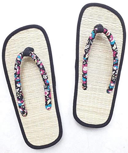 USA STEP Ladies Women Girls Handmade Fashion Indoor Outdoor Home Spa Hotel Straw Seagrass Cozy Flip Flops Sandals Slippers Thong Black (40 M EU) ()