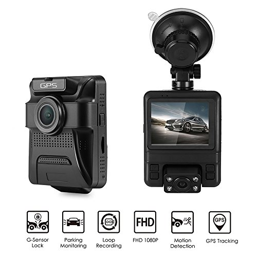DDSKY Dual Lens 1080P FHD Car DVR Dash Cam Camera GPS Camcorder with GPS Module 150° Widen Angle Lens Support G-Sensor/Motion Detection/Loop Recording/GPS Tracking/Night Vision