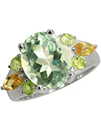 4.32ct. Natural Green Amethyst, Peridot & Citrine 925 Sterling Silver Cocktail Ring