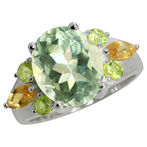 4.32ct. Natural Green Amethyst, Peridot & Citrine 925 Sterling Silver Cocktail Ring Size -