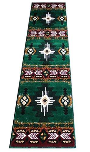 Southwest Native American Area Rug Runner Design C318 Hunter Green (2 Feet X 7 Feet) (Hunter Green Kitchen Rugs)