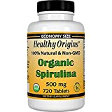 Healthy Origins Organic and Kosher Spirulina, 500 mg, 5Pack (720 Tablets Each )