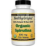 Healthy Origins Organic and Kosher Spirulina, 500 mg, 2Pack (720 Tablets Each )