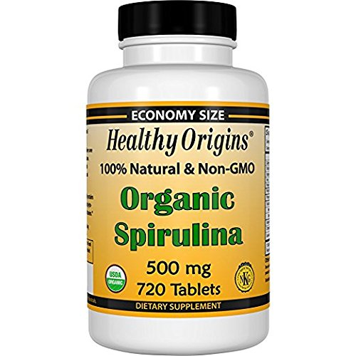 Healthy Origins Organic and Kosher Spirulina, 500 mg, 5Pack (720 Tablets Each ) by Healthy Origins