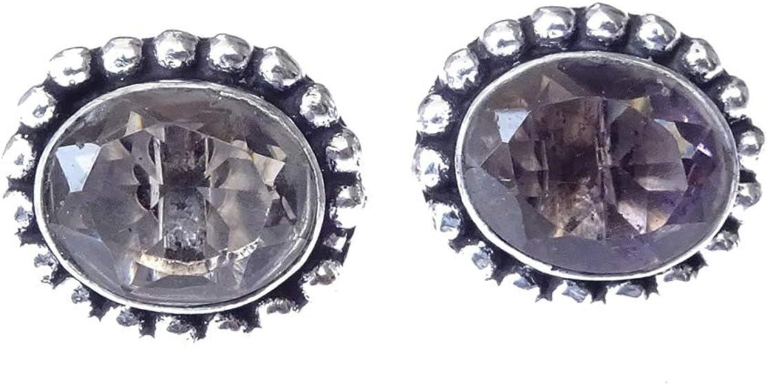 Pendientes de perlas de piedras preciosas ahumadas chapadas en plata tibetana para mujeres pendientes unisex 6 X 8 mm ovalado hecho a mano hermoso arete fino por India Jewel Store