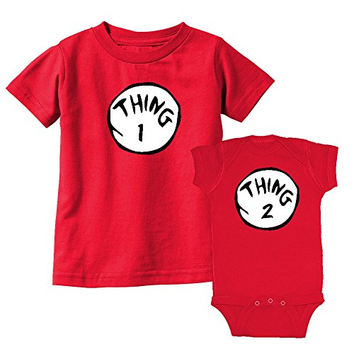 We Match! Thing 1 & Thing 2 Matching Sibling Kids T-Shirt & Bodysuit Set (12M Bodysuit, Toddler 3T, Red) (Thing 1 Thing 2 Outfits)